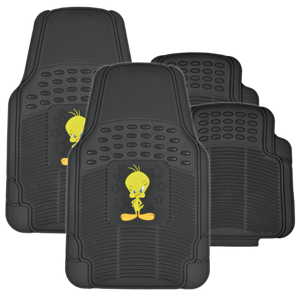 tweety bird full gift set rubber floor mats seat covers autoshade car suv. Black Bedroom Furniture Sets. Home Design Ideas