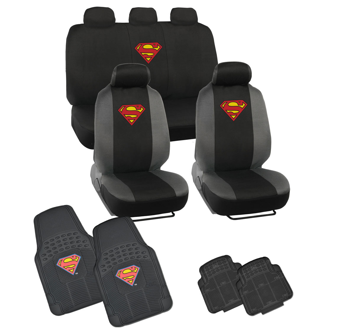 Rubber mats ebay - Image Is Loading Superman Seat Covers Amp 4pc Rubber Floor Mats