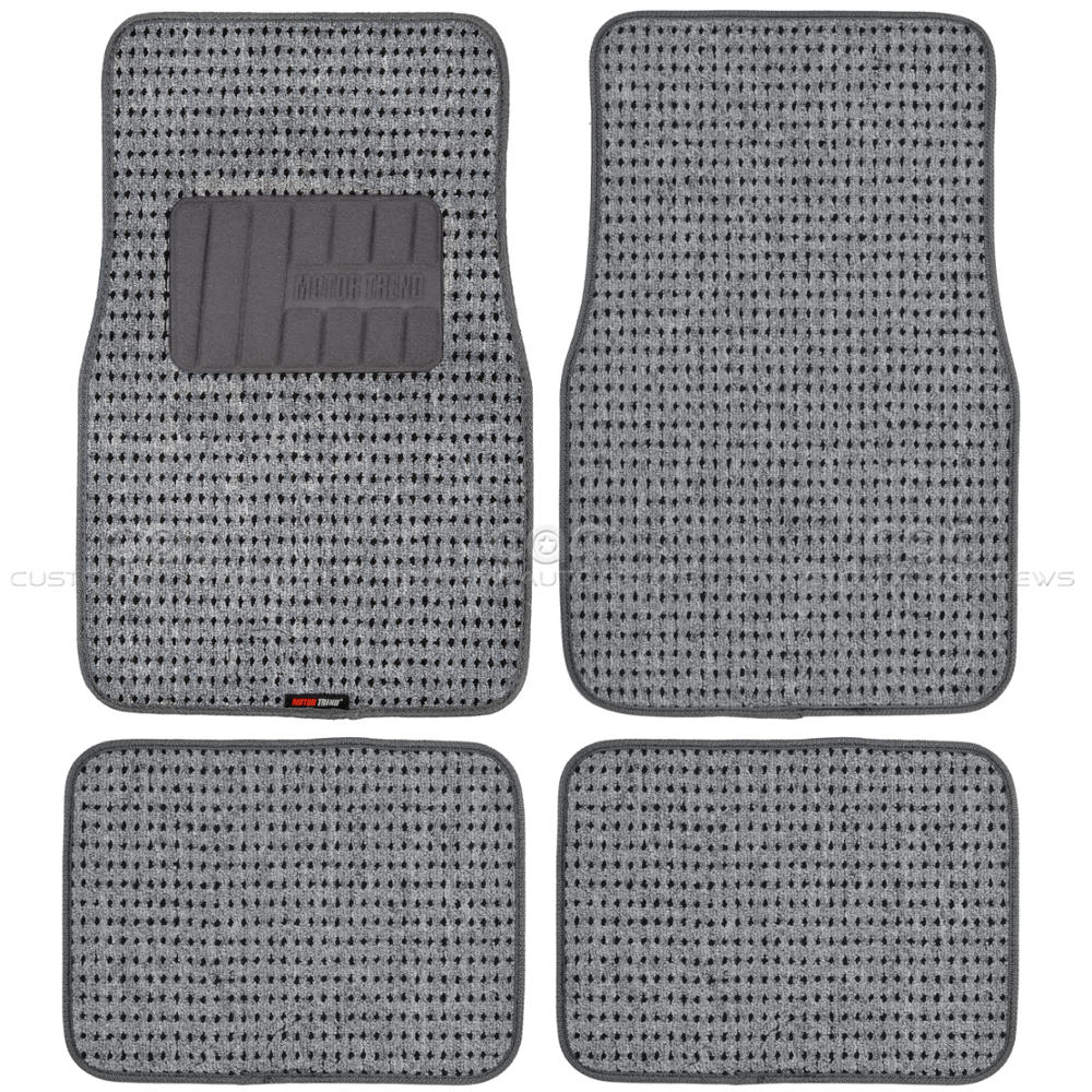 plush gray berber carpet floor mats 4pc car interior front rear ebay. Black Bedroom Furniture Sets. Home Design Ideas