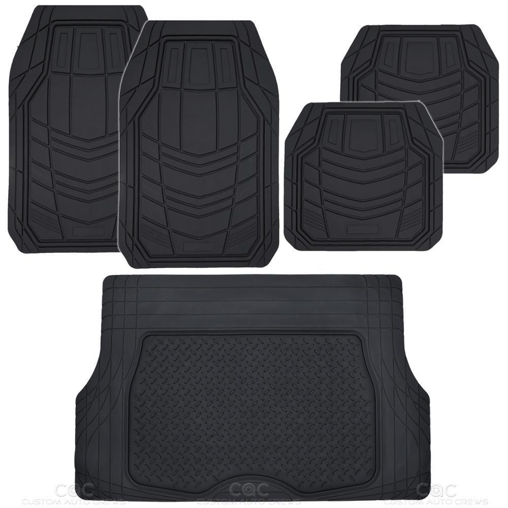 5pc All Weather Car Floor Mats & Cargo Set- Black RIGID