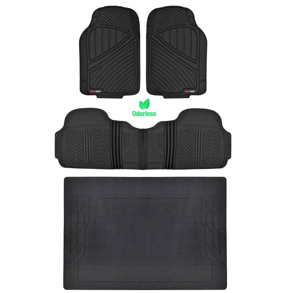 hd all weather car floor mats liner set durable rubber black motortrend ebay. Black Bedroom Furniture Sets. Home Design Ideas