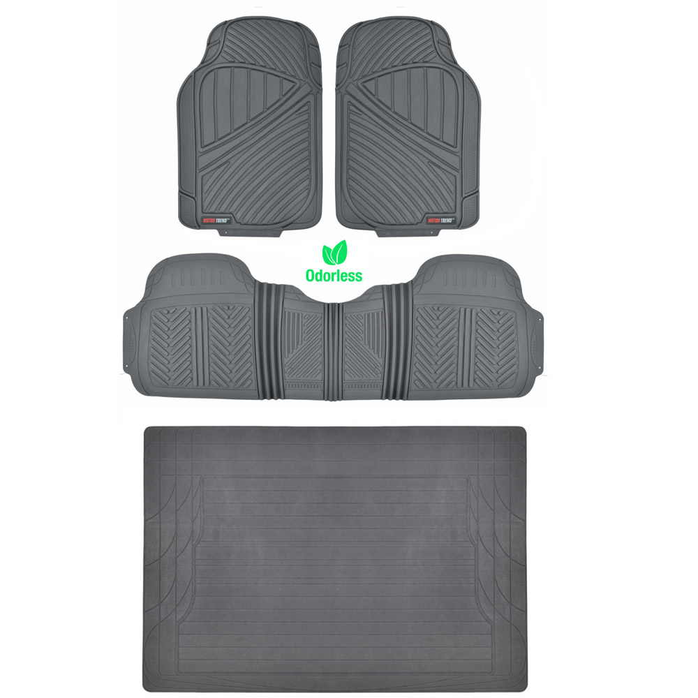 Gray 4pc Rubber Floor Mat Car SUV Heavy Duty All Weather