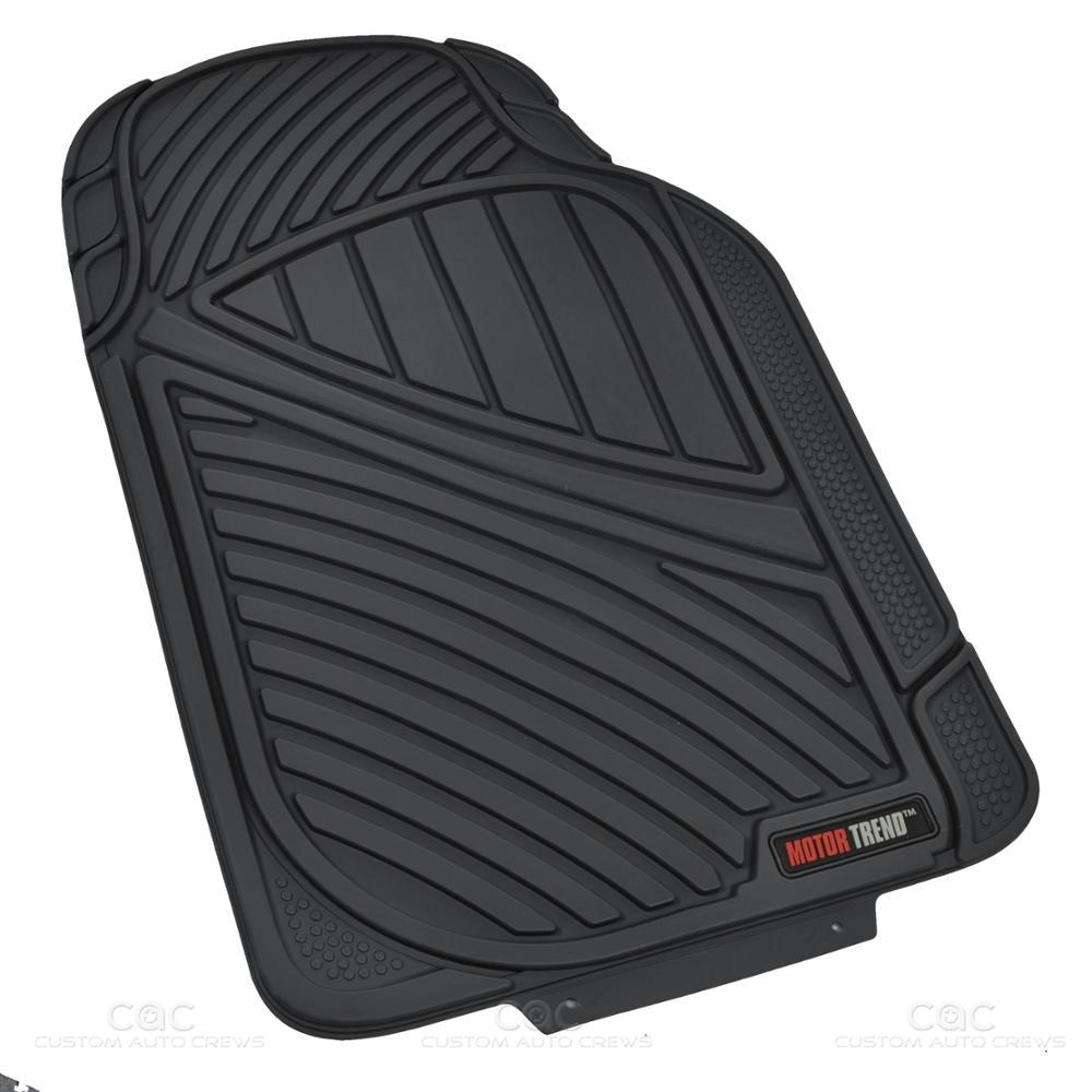 Motor Trend Ridge Channel Black Rubber Floor Mat Heavy