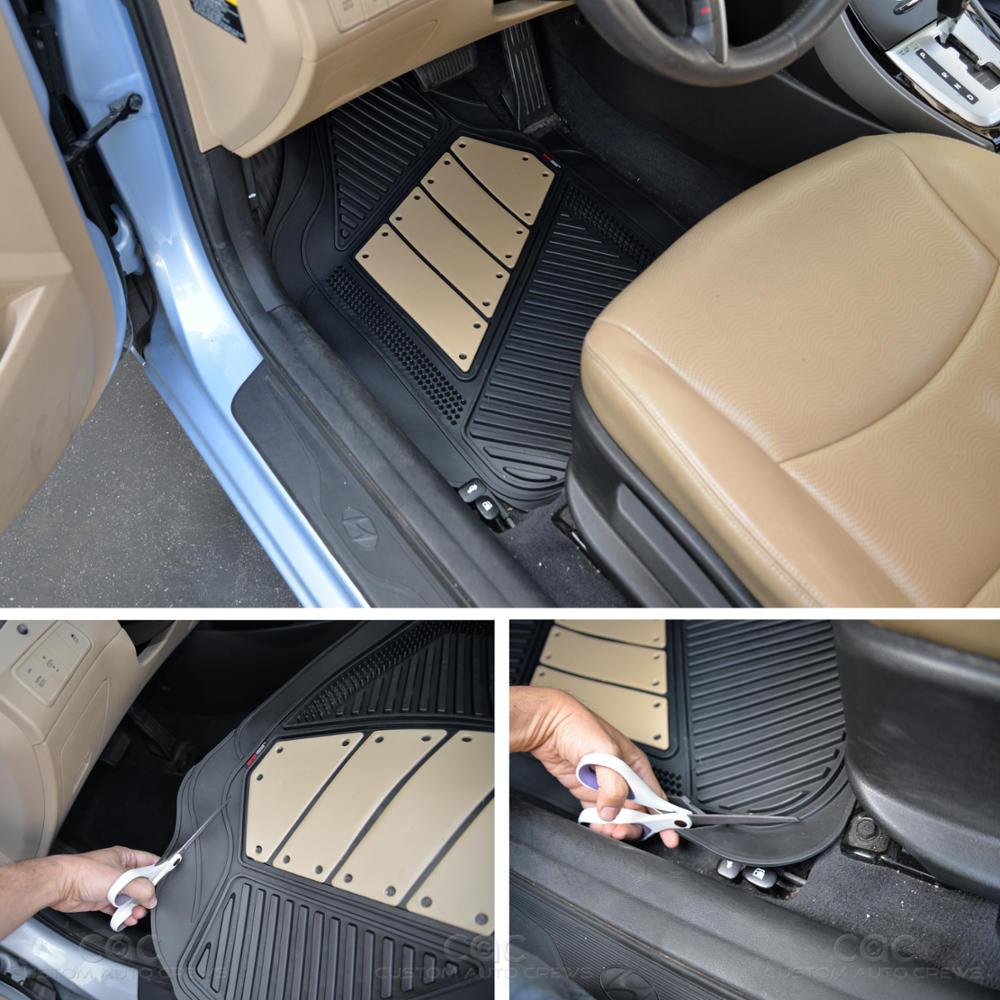 Flextough 2 Tone Beige Deep Channeled Rubber Car Floor