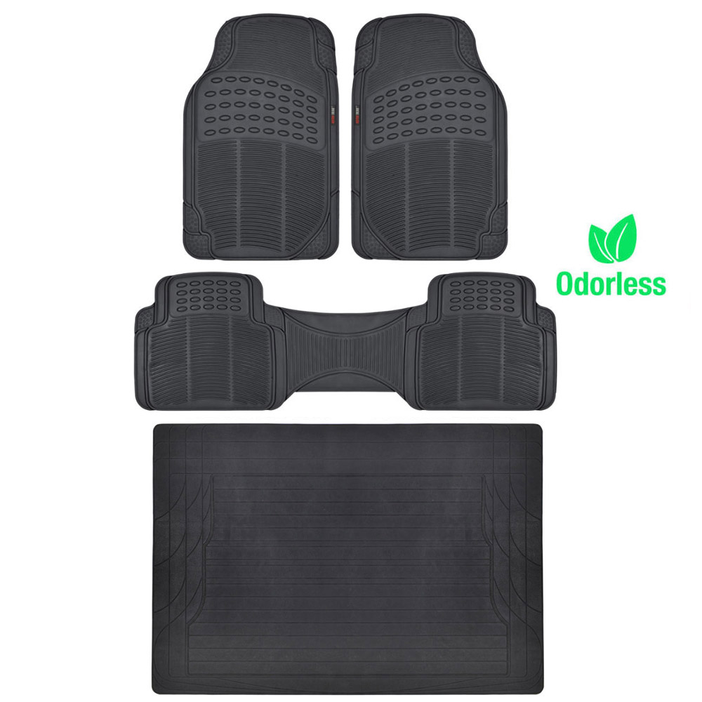 4pc heavy duty rubber floor mat full set black all weather mats liner bpa free