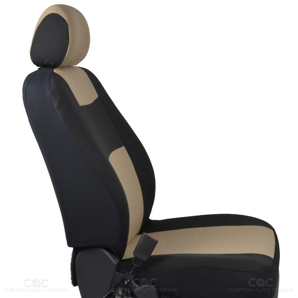 Beige Car Seat Covers Set Full Solid Bench For Auto Suv W