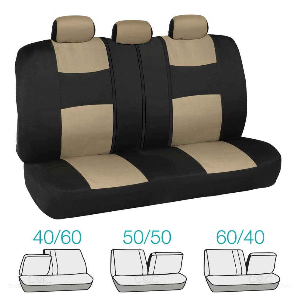 beige black car interior split bench seat covers black rubber mats 13 pc set ebay. Black Bedroom Furniture Sets. Home Design Ideas