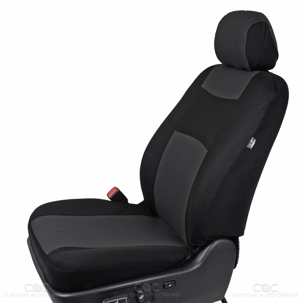 Black & Charcoal Seat Cover For Car Auto SUV Polyester