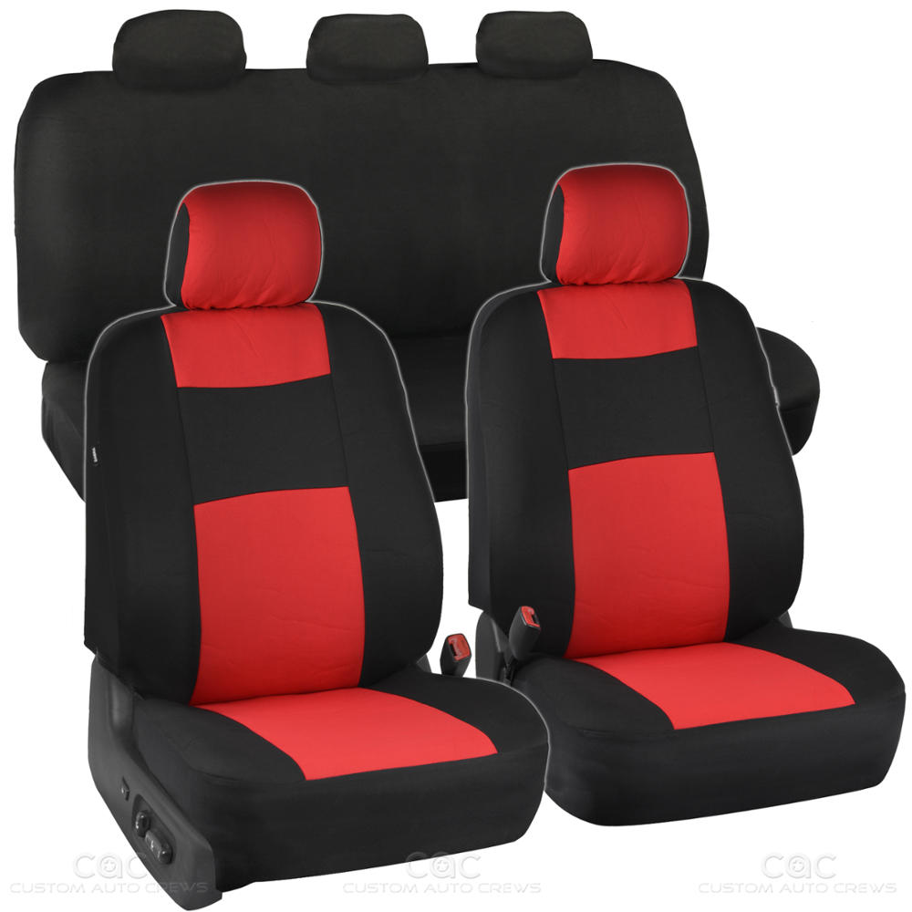 red black car seat covers set 5 headrests full solid bench for auto suv 9pc ebay. Black Bedroom Furniture Sets. Home Design Ideas