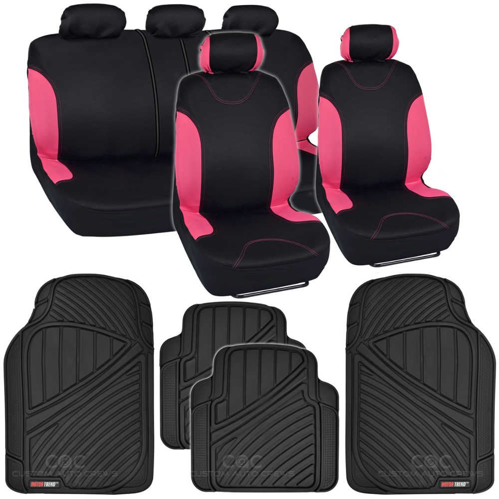 NEW PINK /& BLACK DBL STITCHED POLYESTER BENCH SEAT COVER 4PC SET FOR SUVS 1927