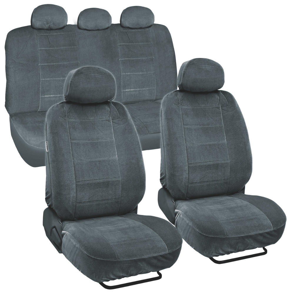 Car Seat Covers Encore Material Charcoal Cloth Set Of 9pc