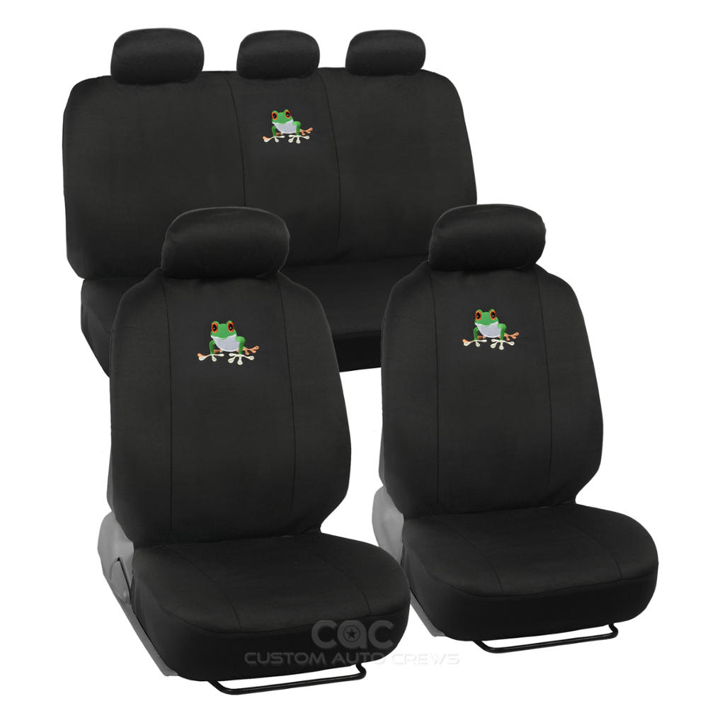 Cute Frog Car Seat Cover Front Rear Full Set Auto