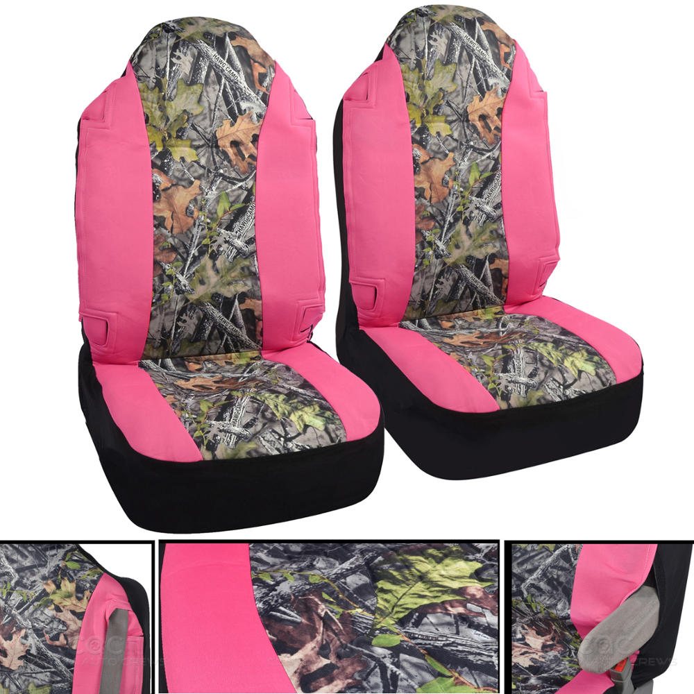 Pink Camo Seat Covers For Truck & Car Belt Armrest Open