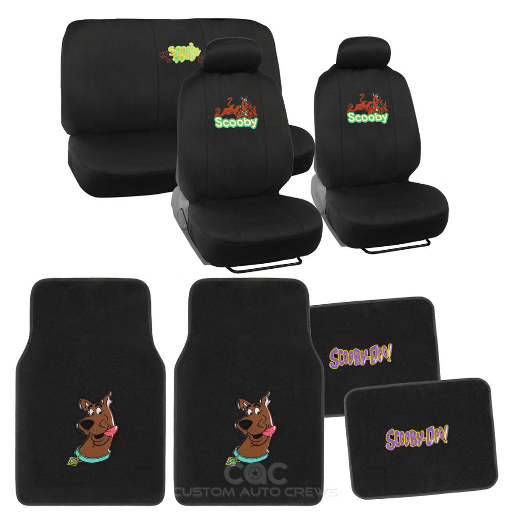 Scooby Doo Car Seat Covers Yellow On Black Logo W