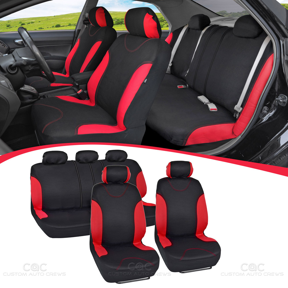 black and red cloth car seat covers car rubber floor mats 11 piece set ebay. Black Bedroom Furniture Sets. Home Design Ideas
