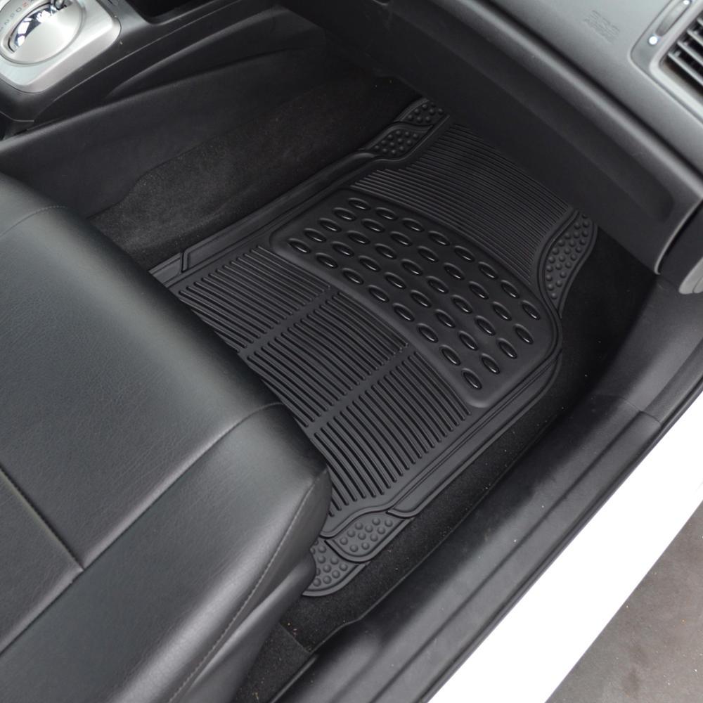 Black Rubber Car Floor Mats Front 2 Piece Set All Weather