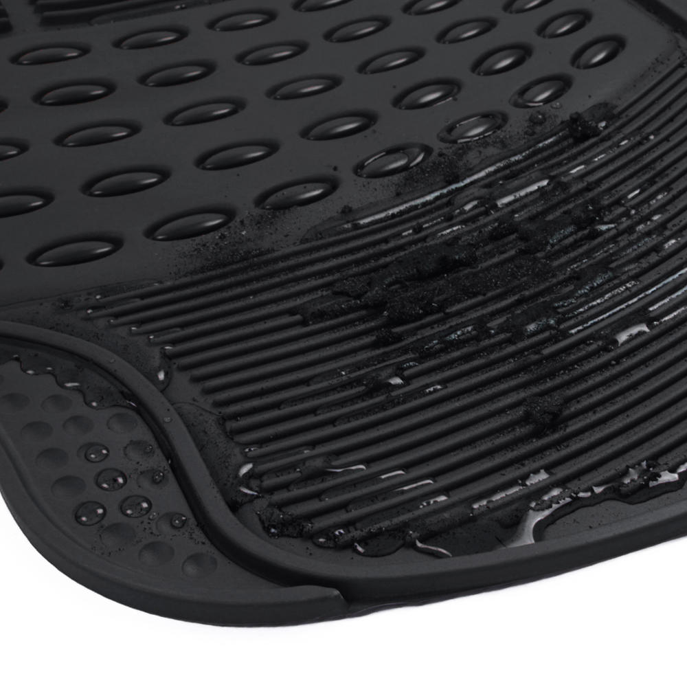 Black Rubber Car Floor Mats Front 2 Piece Set All Weather