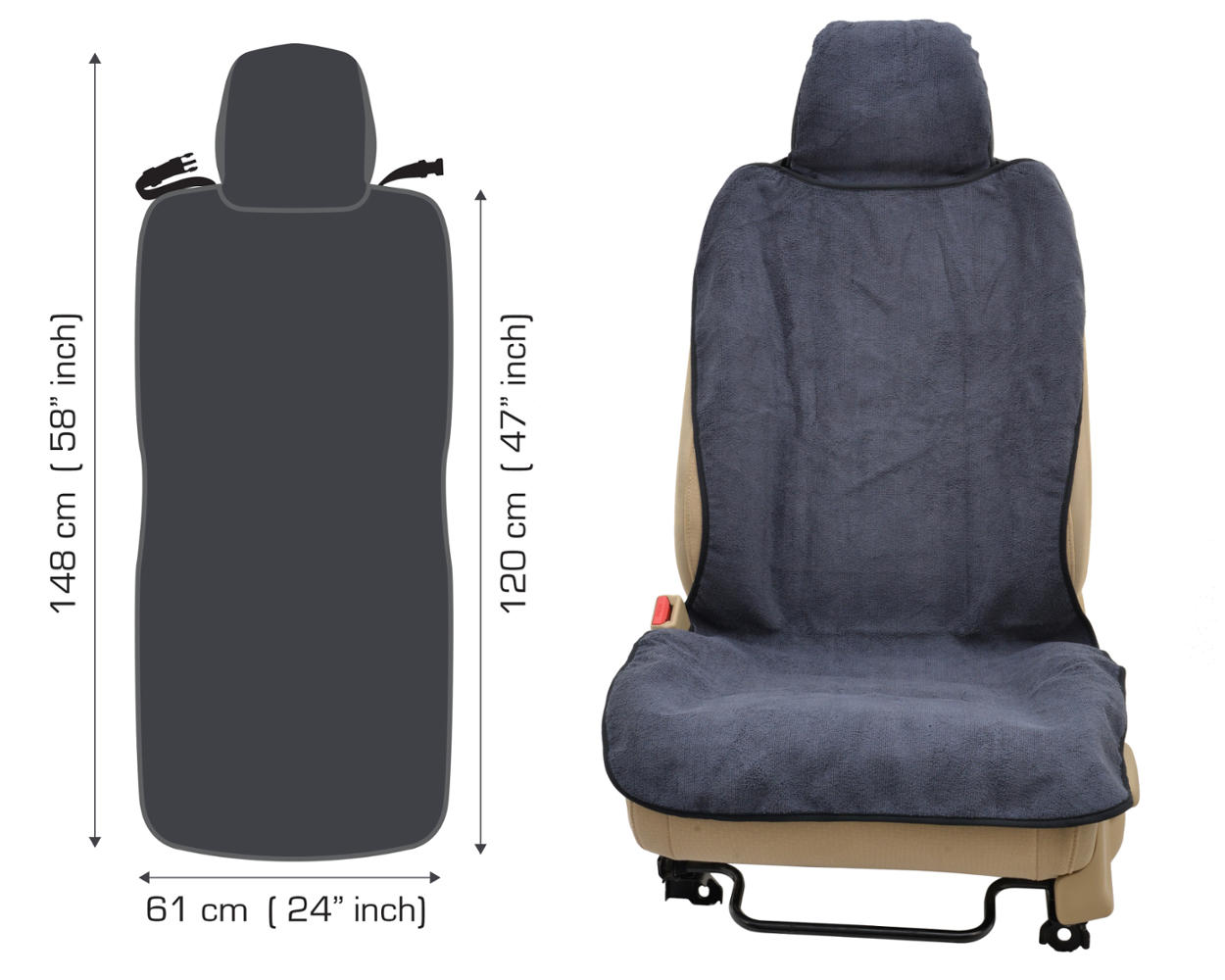 2pc Sweat Yoga Towel Auto Seat Covers Car Outdoor Sports