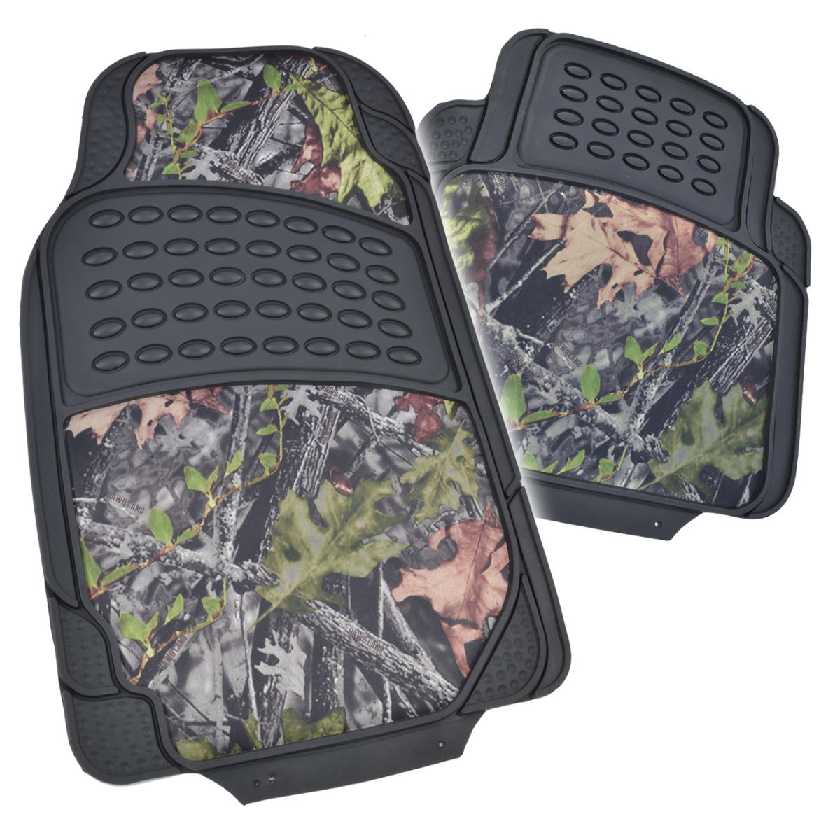 Black Camo Rubber Floor Mats W Cushion Grip Steering