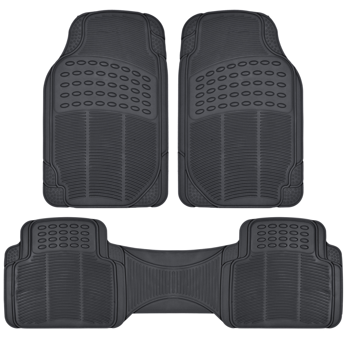 Car Rubber Floor Mats Car SUV Truck Black All Weather