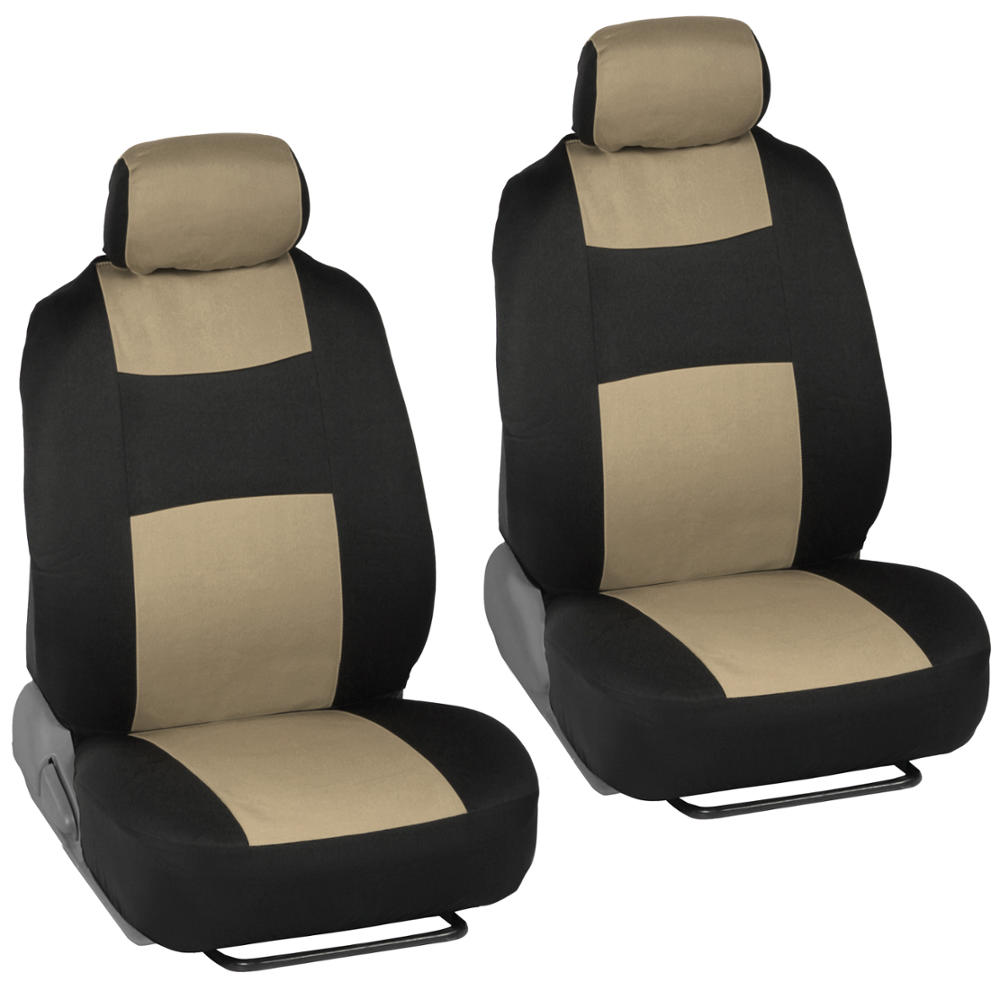 Beige Black Car Interior Split Bench Seat Covers 2 Tone