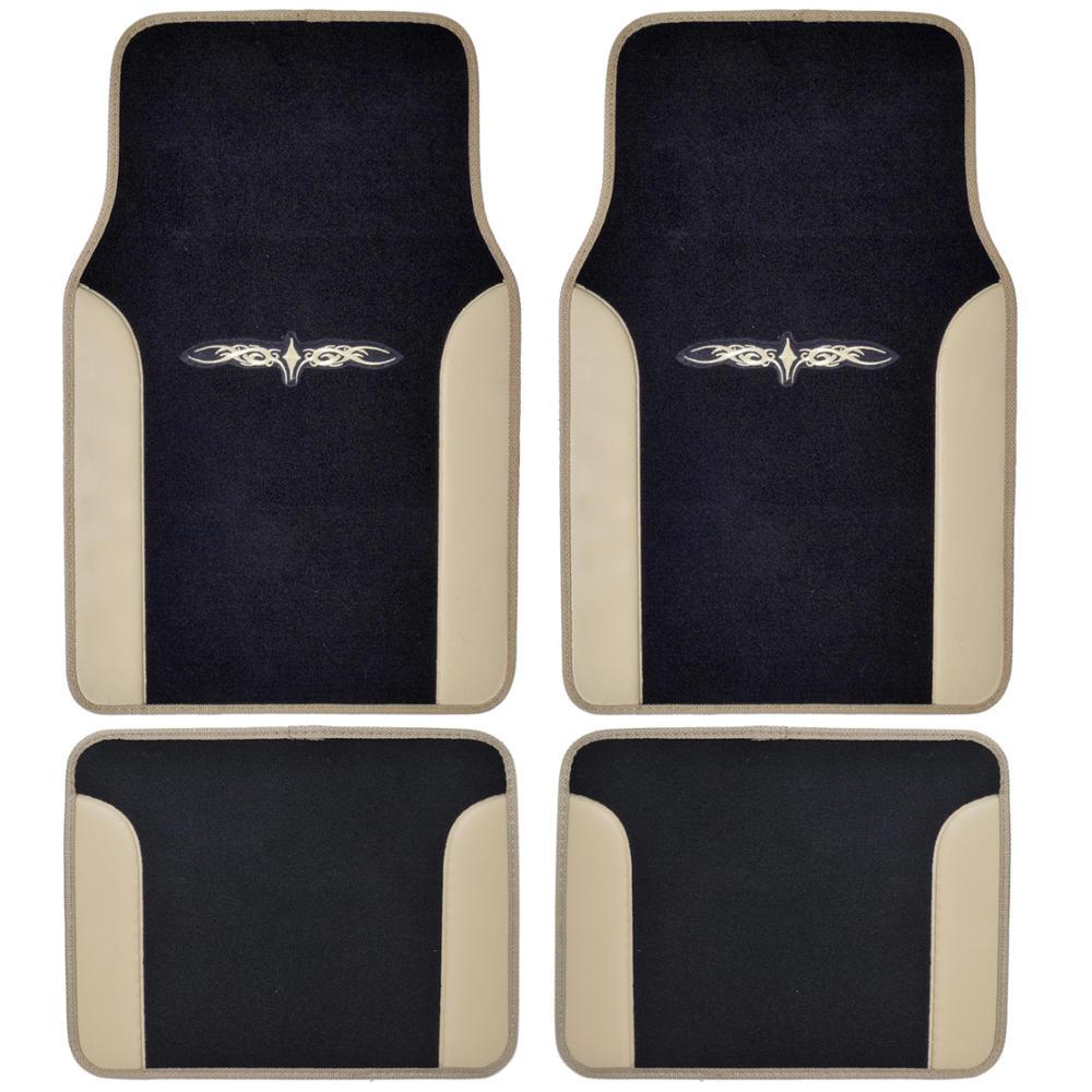 Beige Black Car Interior Split Bench Seat Covers 2 Tone Floor Mats