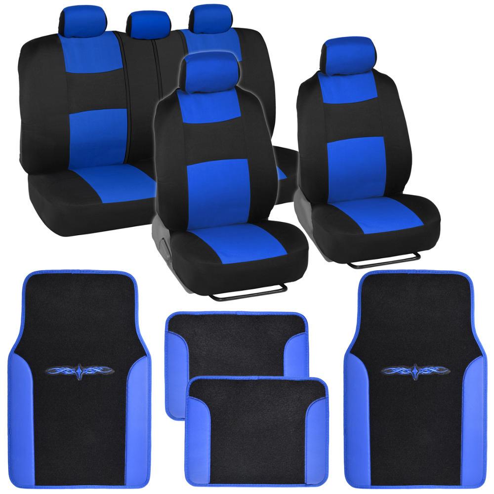Blue/Black Car Interior Set Split Bench Seat Covers 2 Tone