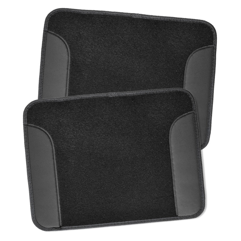 Car Seat Covers Set Black & Charcoal W/ PU Leather Floor
