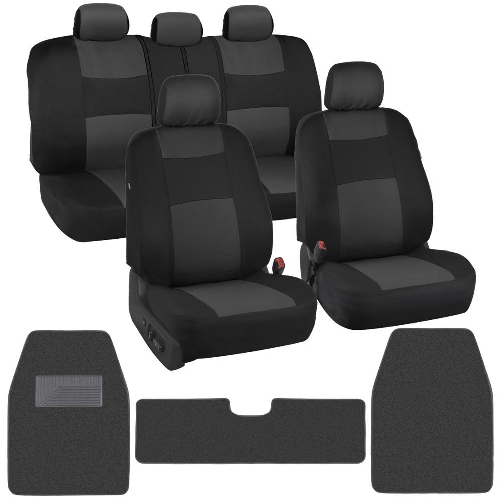 Classic Black/Charcoal Cloth Car Seat Covers + Carpet