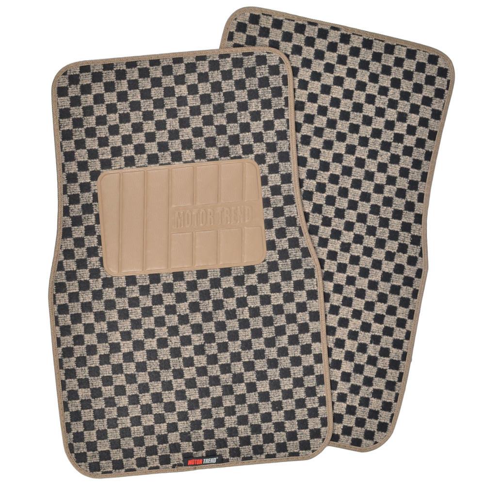 Checkered Mat: Black/Beige Stripe Car Seat Covers W/ Checkered Carpet