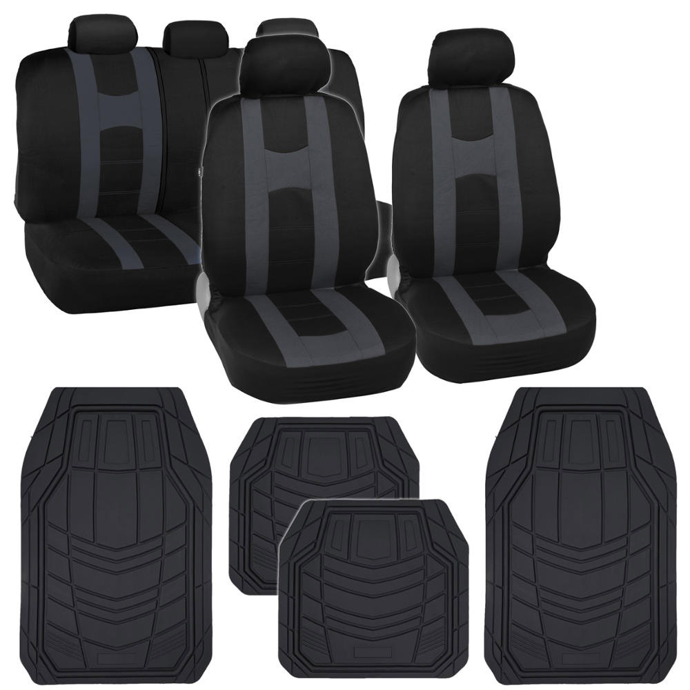 black car seat covers w charcoal gray stripe heavy duty rubber floor mats ebay. Black Bedroom Furniture Sets. Home Design Ideas
