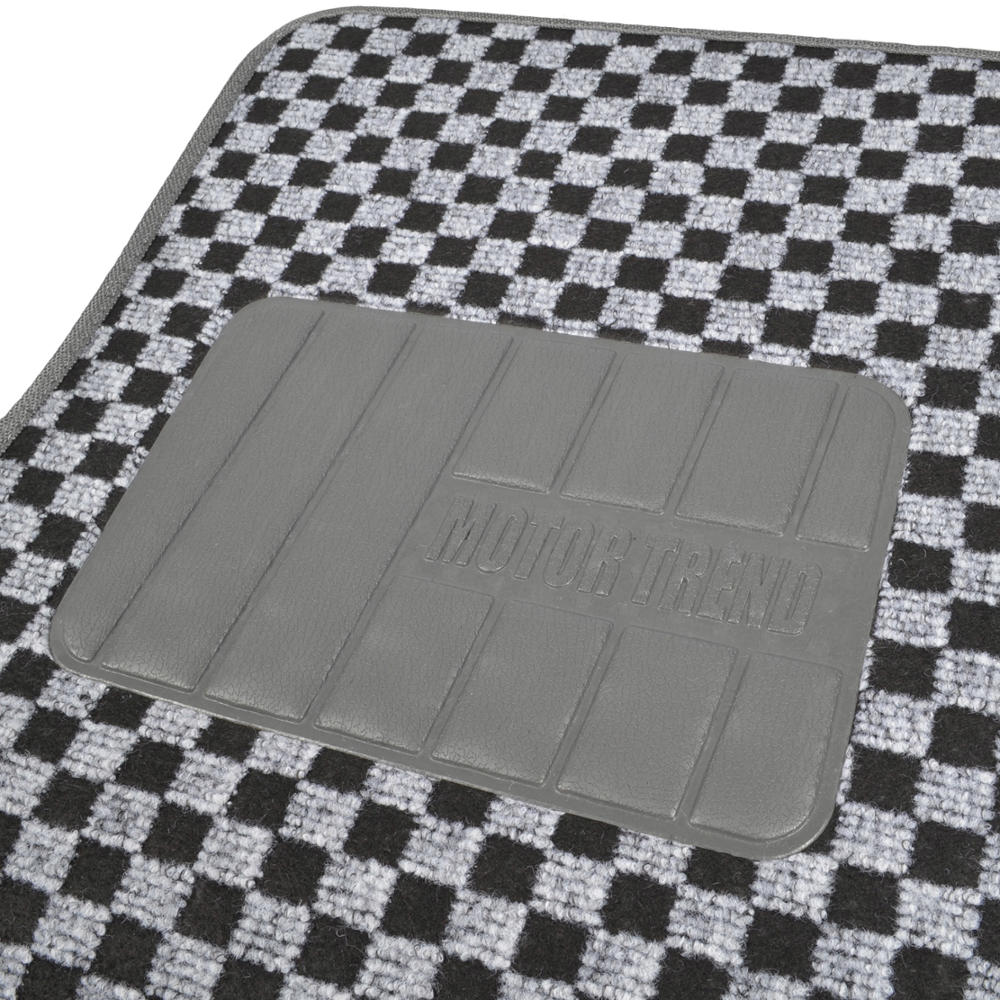 Checkered Mat: PolyCloth Car Seat Covers Black/Gray PLUS Thick Checkered