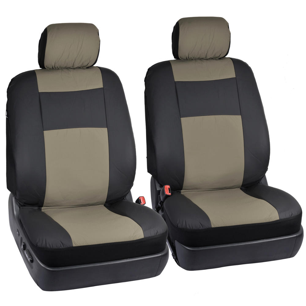 Black tan synth leather car seat covers 4pc rubber floor - Car seat covers for tan interior ...