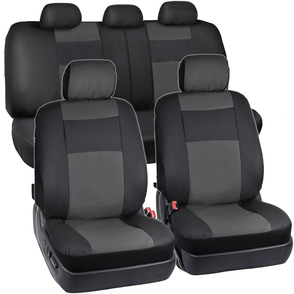 Synthetic Leather Car Seat Covers Black Charcoal Gray Full Set