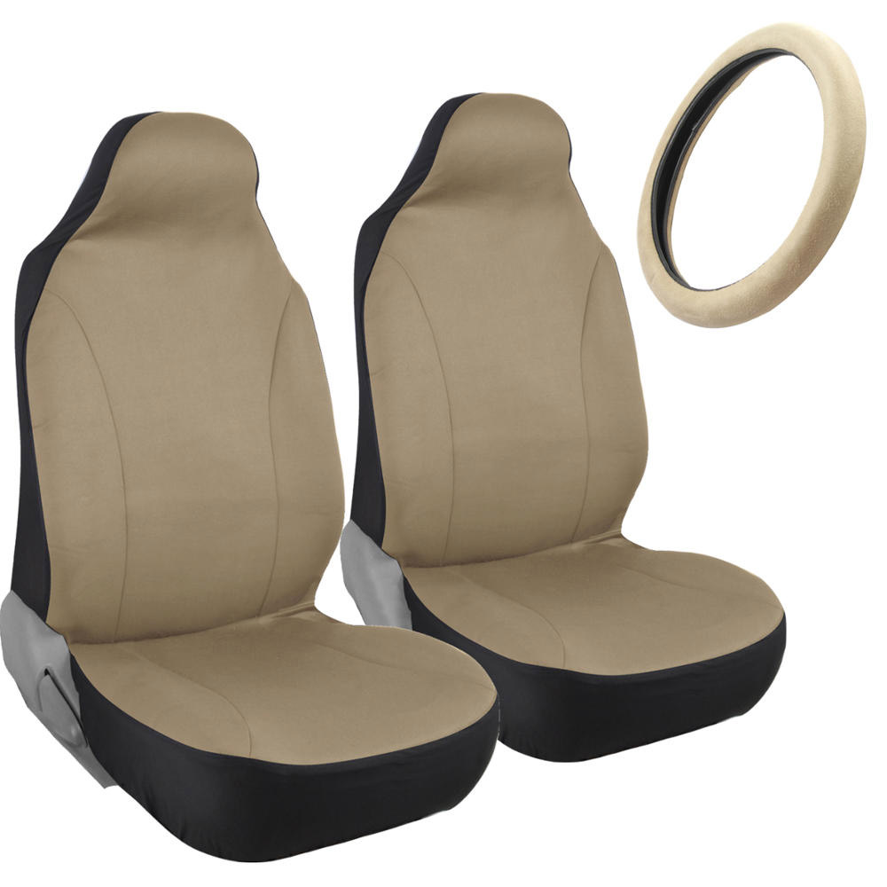 Beige Tan Highback Bucket Seat Covers For Auto Car Suv W