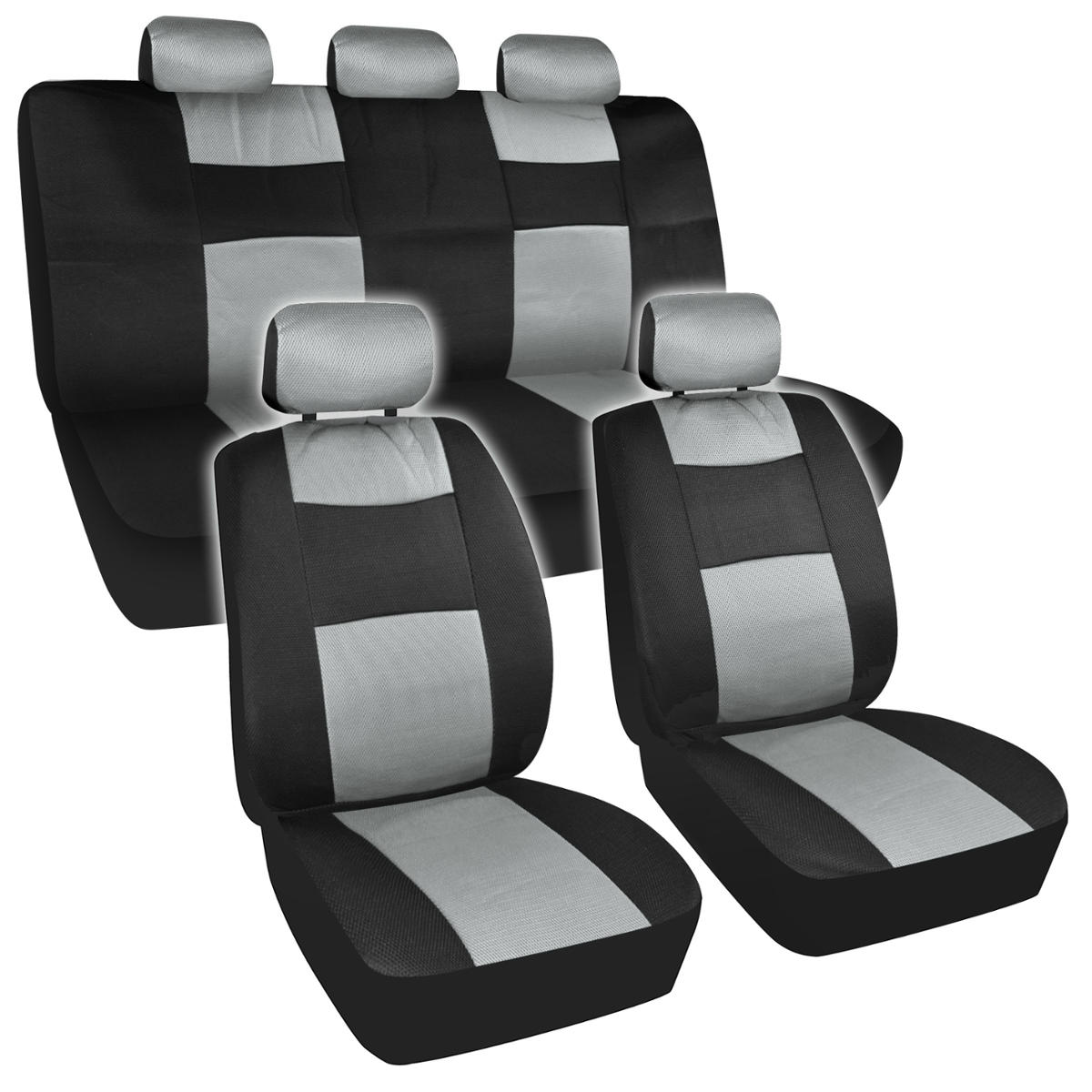 11 Piece Car Truck Seat Cover: USA Non Fading 2 Tone Gray Car Seat Cover 11 Pc Cover Mesh