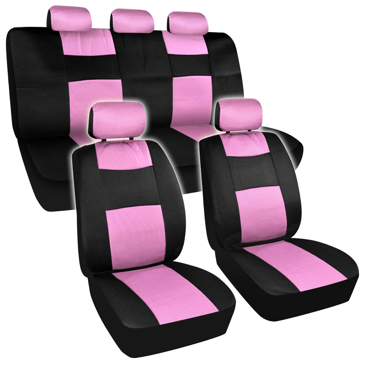 seat covers black and pink mesh cloth polyester 2 color accent set accessories ebay. Black Bedroom Furniture Sets. Home Design Ideas