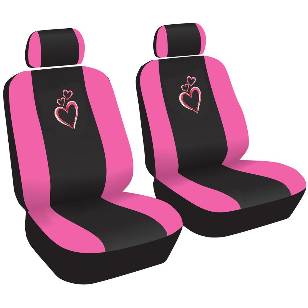 love hearts and bones car seat covers and floor mats pink black ebay. Black Bedroom Furniture Sets. Home Design Ideas