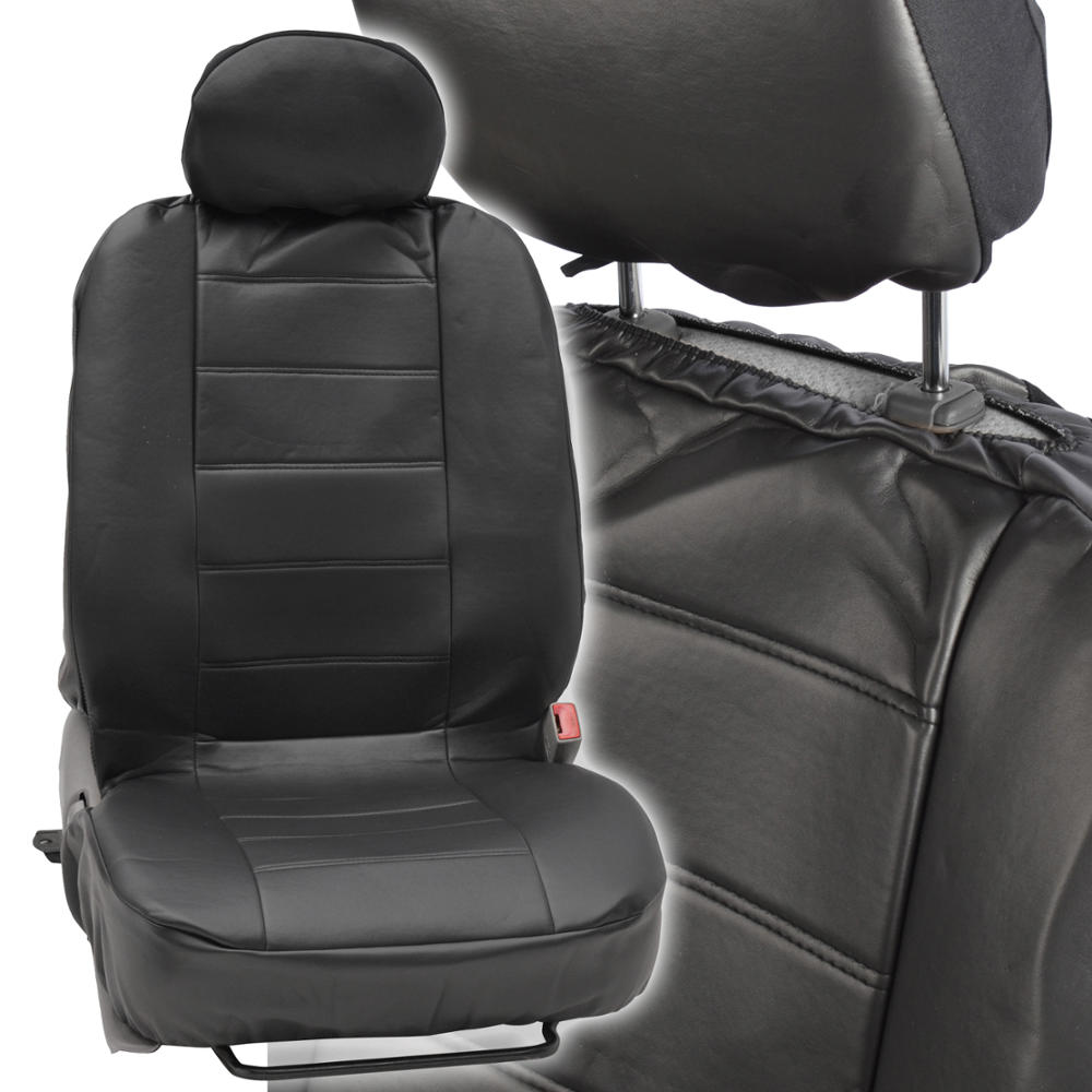 ProSynthetic Black Leather Auto Seat Covers For Nissan Versa
