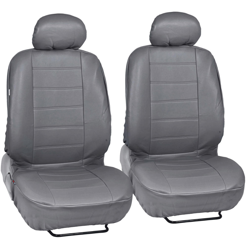 Black & Gray PU Leather Car Seat Covers & Steering Wheel Cover Front ...