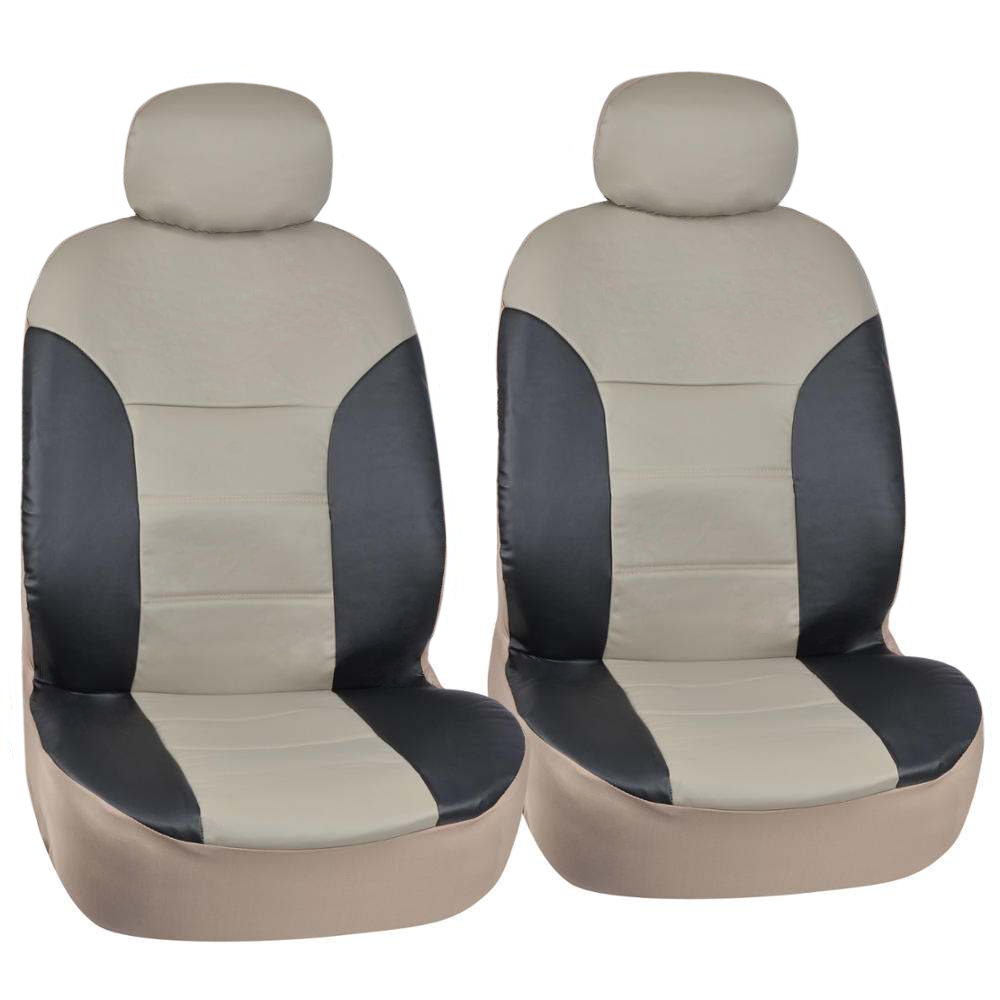 Motor trend pu leather car seat covers 2pc front black tan - Car seat covers for tan interior ...