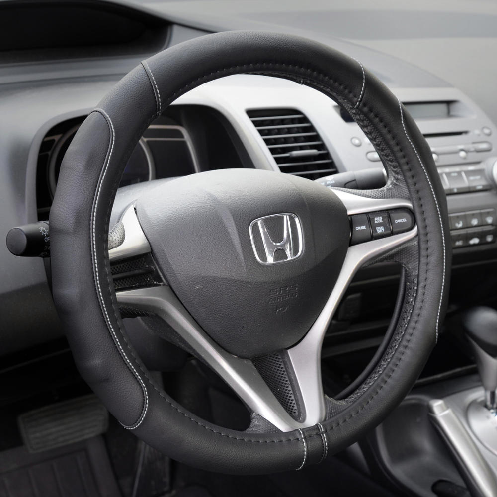 Synthetic Leather Steering Wheel Cover Black W Gray Stitching Sport - Acura rsx steering wheel cover