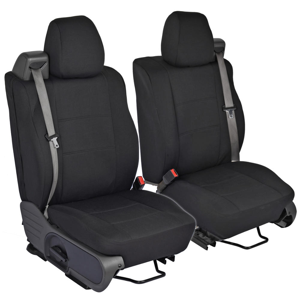 black front pair custom seat covers for ford f 150 04 08 integrated seat belt ebay. Black Bedroom Furniture Sets. Home Design Ideas