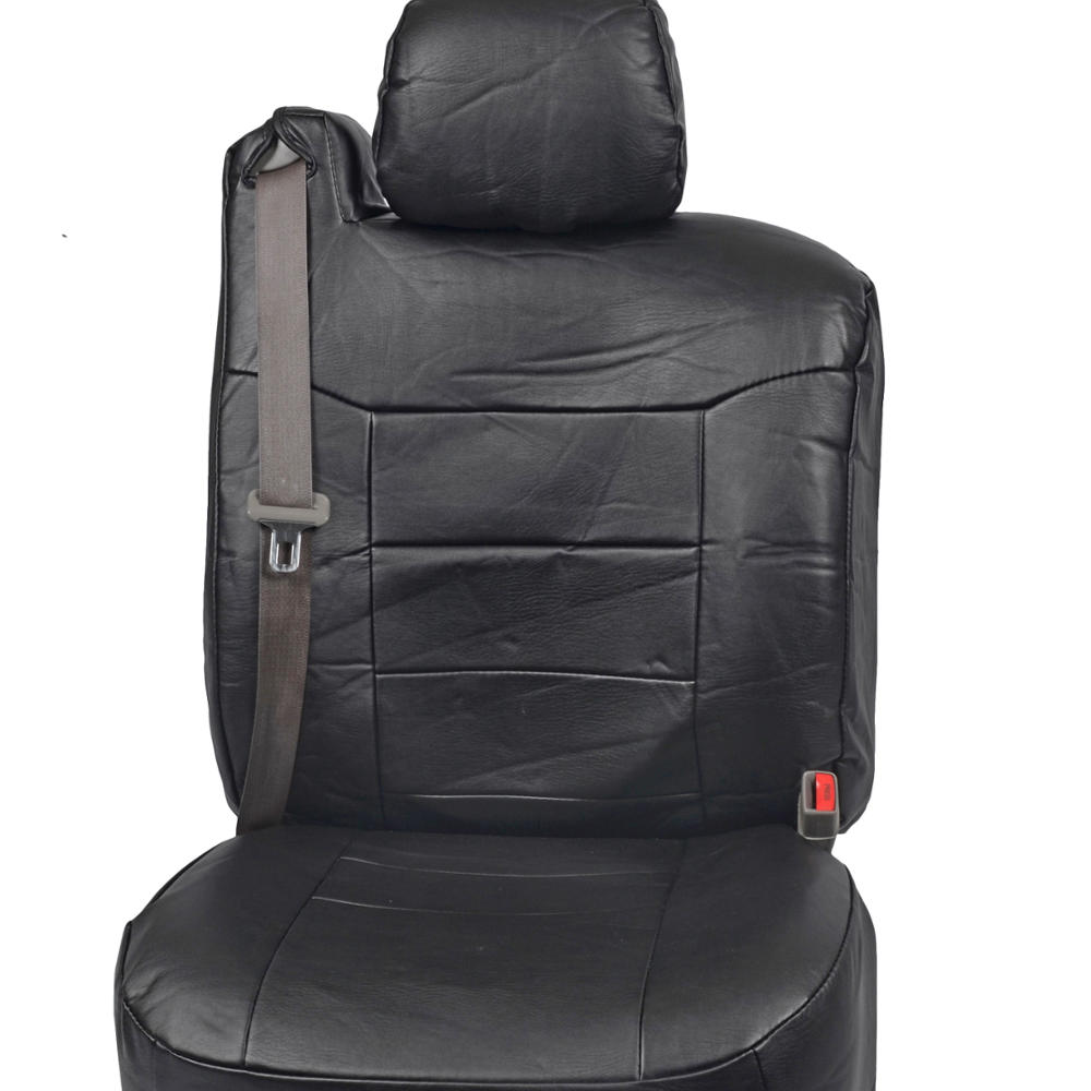 Black Pu Leather Front Pair Seat Covers Luxury For Built