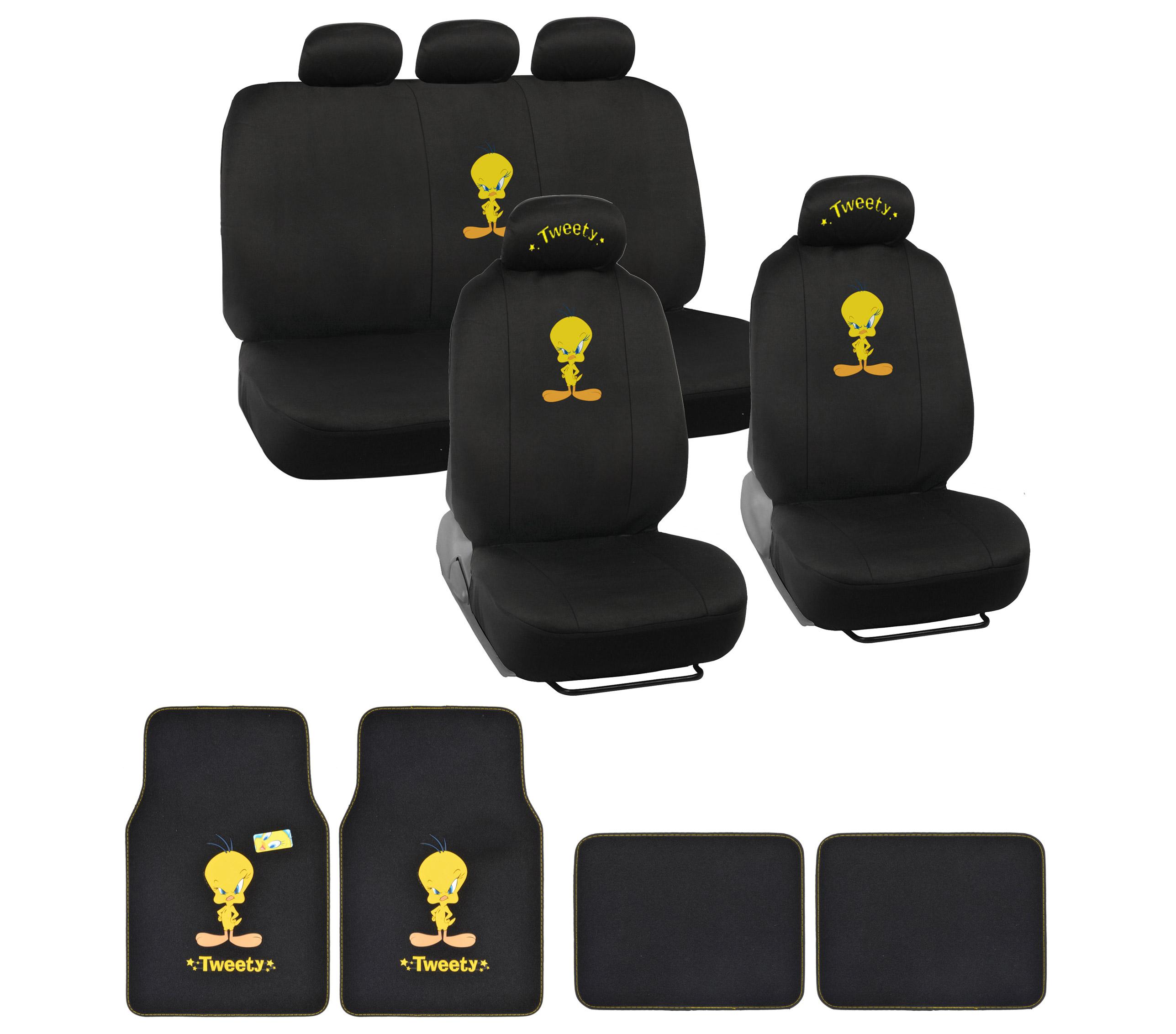 Tweety Bird Car Seat Covers Yellow On Black Logo W Matching