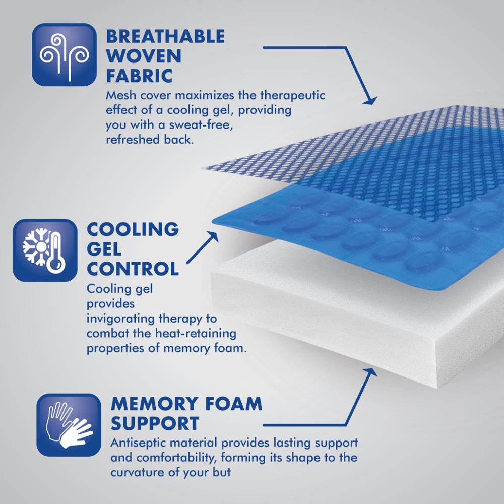 Acdelco Orthopedic Cooling Gel Therapy Memory Foam Lumbar