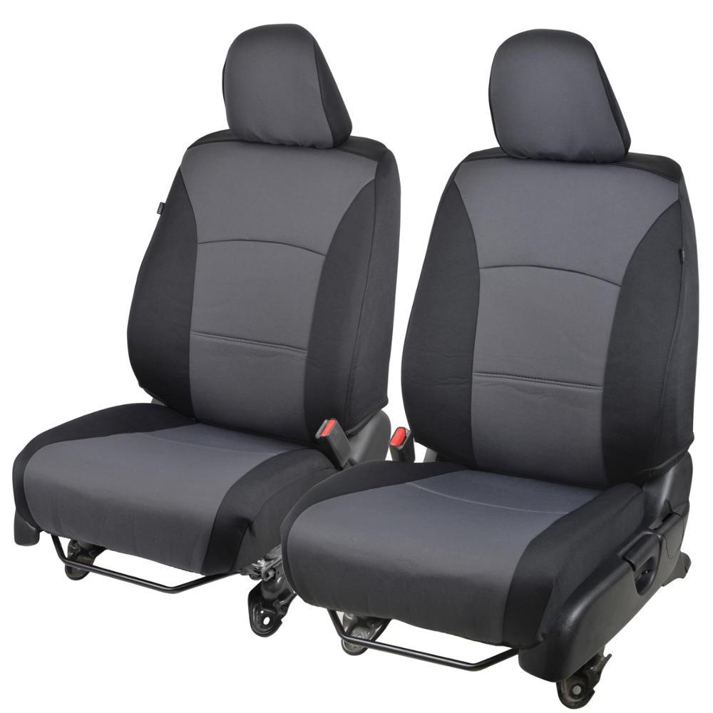 Black & Charcoal Gray Poly-Cloth Custom Car Seat Covers